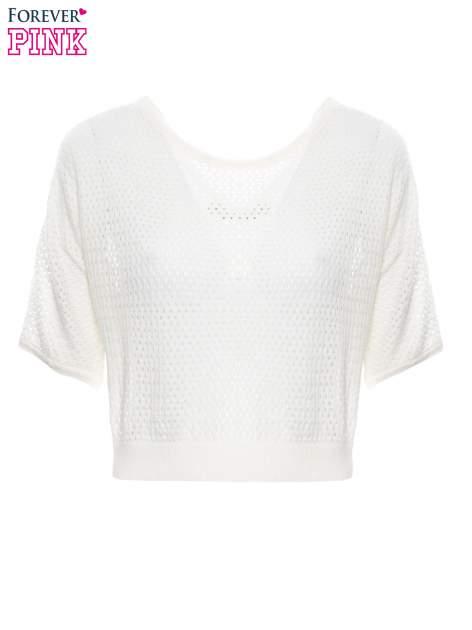 Ecru siateczkowy sweter oversize                                  zdj.                                  5