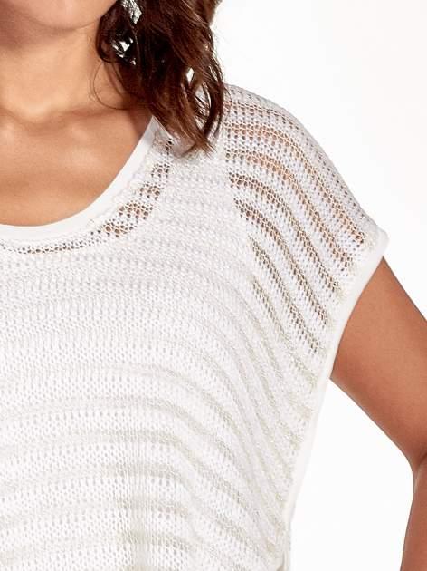 Ecru siatkowy sweterek z metaliczną nicią                                  zdj.                                  5