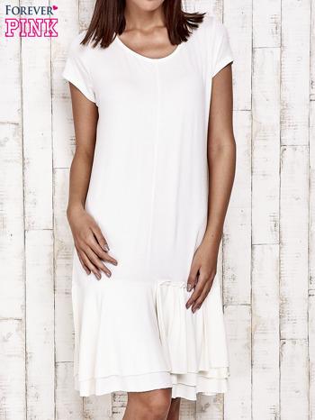 Ecru sukienka dresowa z ozdobną falbaną                                  zdj.                                  1