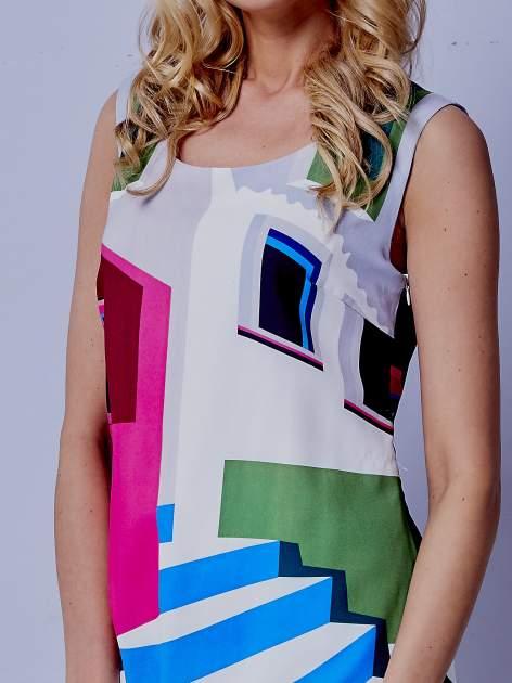 Ecru sukienka w kolorowe geometryczne wzory                                  zdj.                                  5