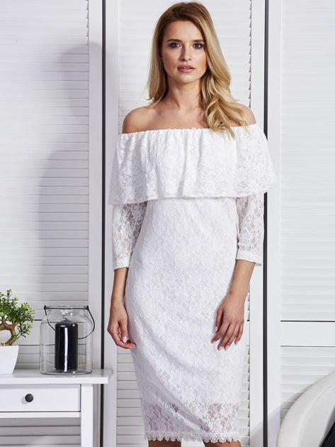 Ecru sukienka z hiszpańskim dekoltem                              zdj.                              1