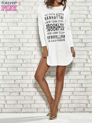 Ecru sukienka z napisem NEW YORK CITY                                  zdj.                                  2
