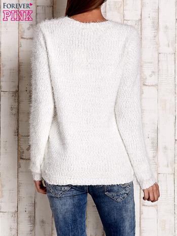 Ecru sweter long hair z kokardkami                                  zdj.                                  4