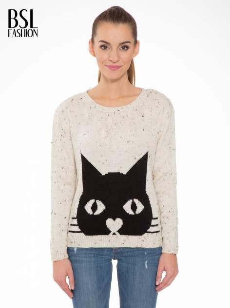 Ecru sweter z nadrukiem kota                                  zdj.                                  1