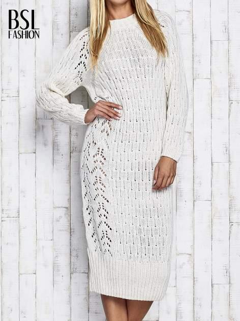 Ecru swetrowa sukienka midi                                  zdj.                                  1