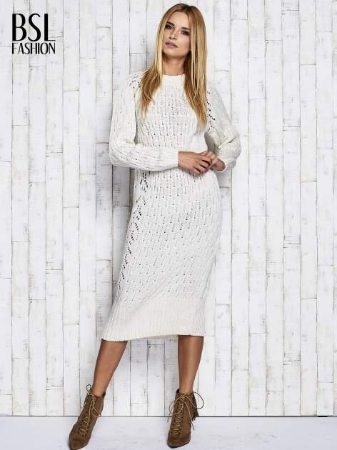 Ecru swetrowa sukienka midi                                  zdj.                                  2