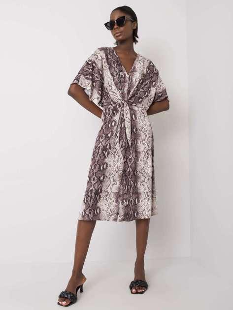 Ecru-szara sukienka z wiązaniem Jacquelin RUE PARIS