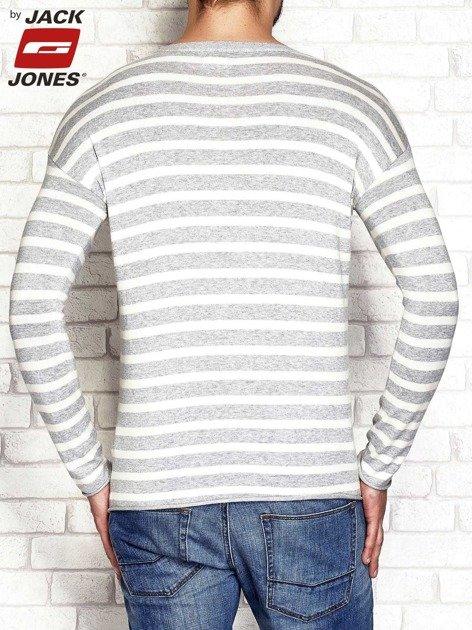 Ecru-szary sweter męski w paski