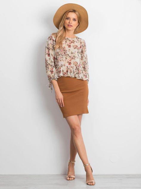 Ecru szyfonowa bluzka w kwiaty                              zdj.                              4