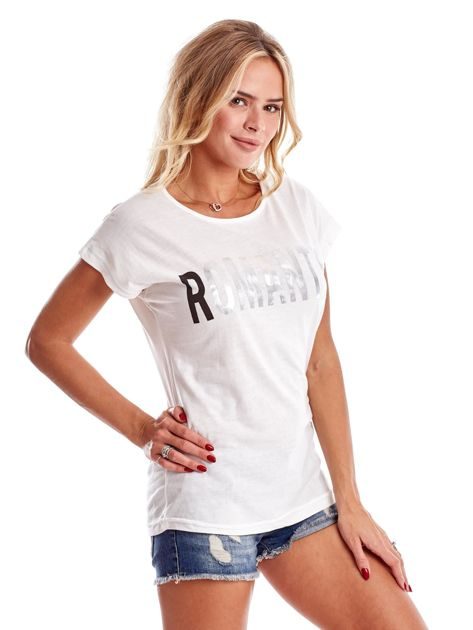 Ecru t-shirt damski ROMANTIC                              zdj.                              5