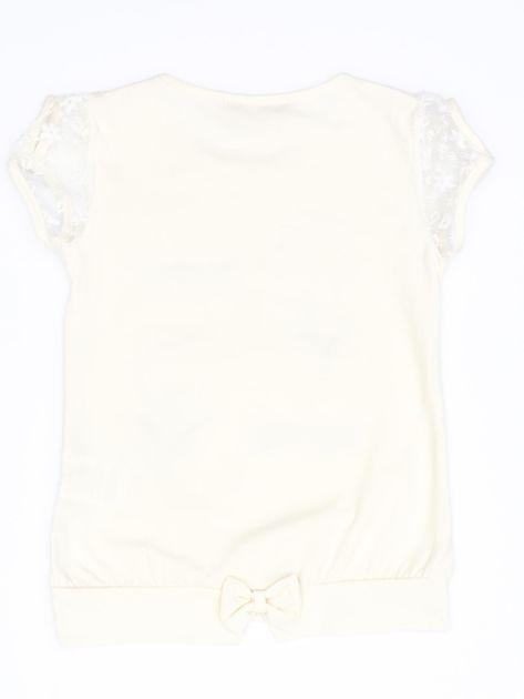 Ecru t-shirt dla dziewczynki z kwiatami                              zdj.                              2