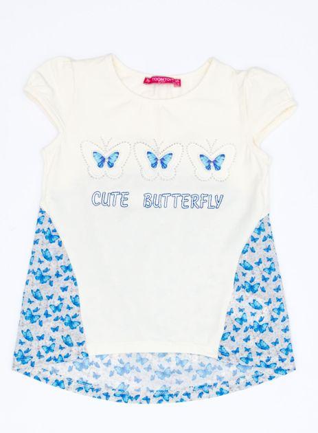 Ecru t-shirt dla dziewczynki z nadrukiem motyli                              zdj.                              1