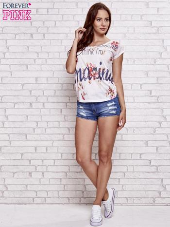 Ecru t-shirt kwiatowy z napisem AMAZING                                  zdj.                                  4