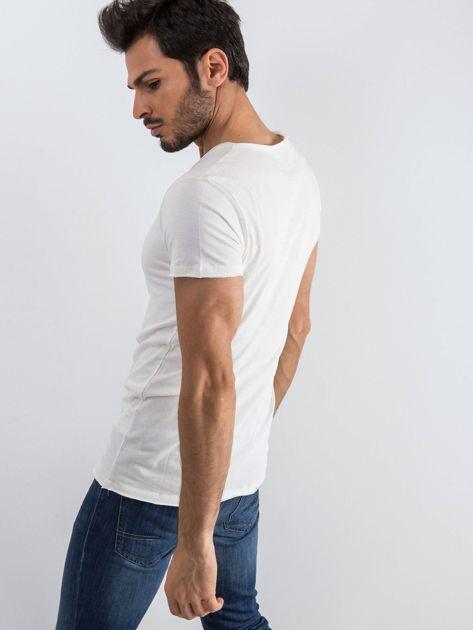 Ecru t-shirt męski Mixture                              zdj.                              2
