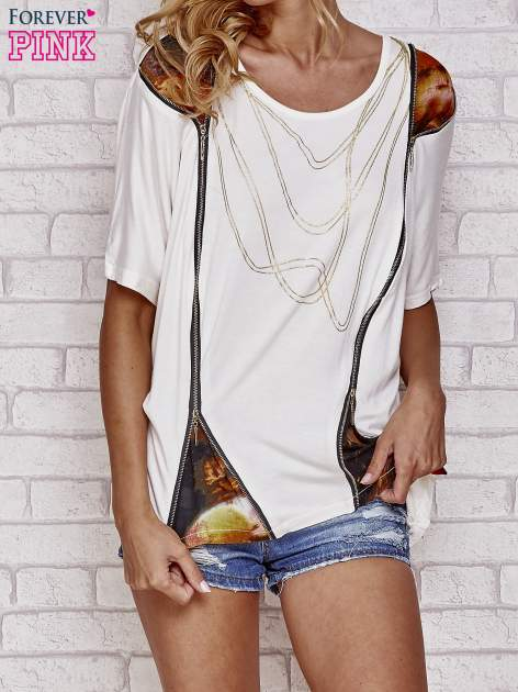 Ecru t-shirt oversize ze złotymi zipami                                  zdj.                                  1