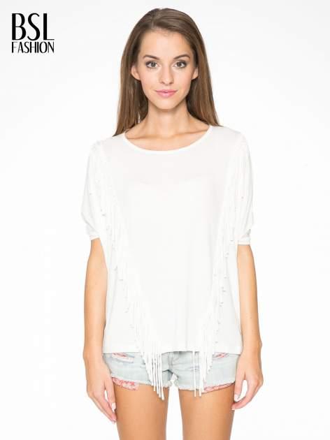 Ecru t-shirt z frędzlami i siateczkowym tyłem