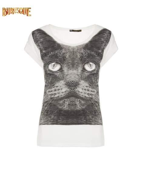 Ecru t-shirt z grafiką kota zdobioną dżetami                                  zdj.                                  1