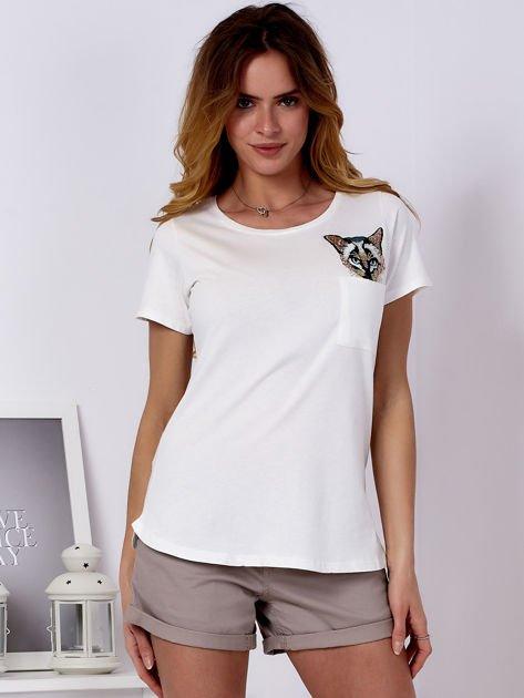 Ecru t-shirt z kotem                               zdj.                              1