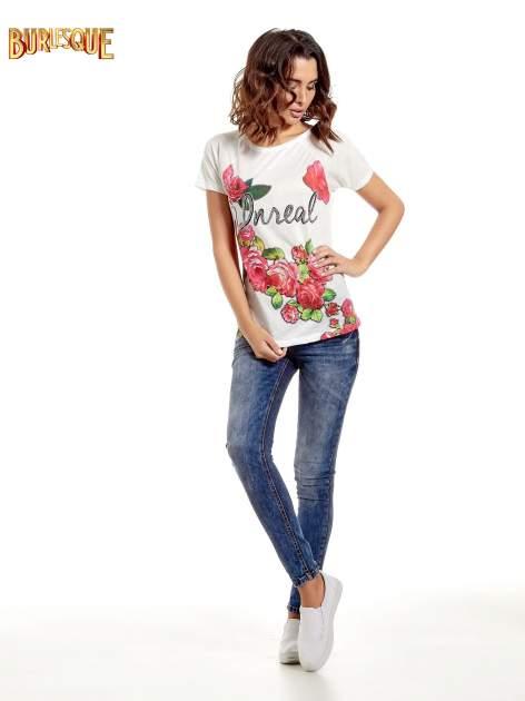 Ecru t-shirt z kwiatowym nadrukiem i napisem UNREAL                                  zdj.                                  8