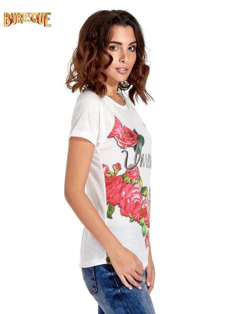 Ecru t-shirt z kwiatowym nadrukiem i napisem UNREAL                                  zdj.                                  3