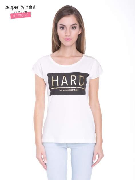 Ecru t-shirt z metalicznym nadrukiem HARD i koronkową wstawką z tyłu                                  zdj.                                  1