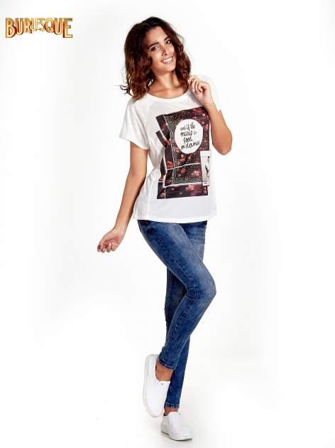 Ecru t-shirt z motywem muzycznym                                  zdj.                                  7
