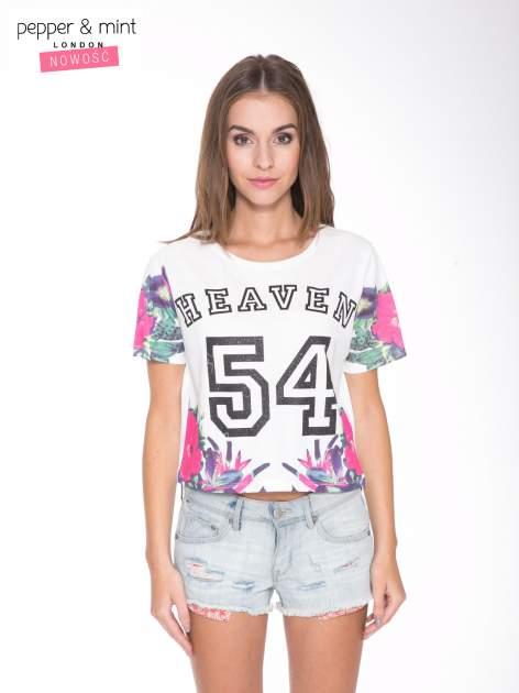 Ecru t-shirt z nadrukiem HEAVEN 54 w stylu eclectic                                  zdj.                                  1