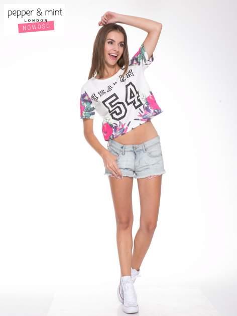Ecru t-shirt z nadrukiem HEAVEN 54 w stylu eclectic                                  zdj.                                  5