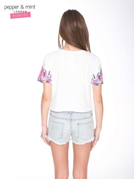 Ecru t-shirt z nadrukiem HEAVEN 54 w stylu eclectic                                  zdj.                                  4