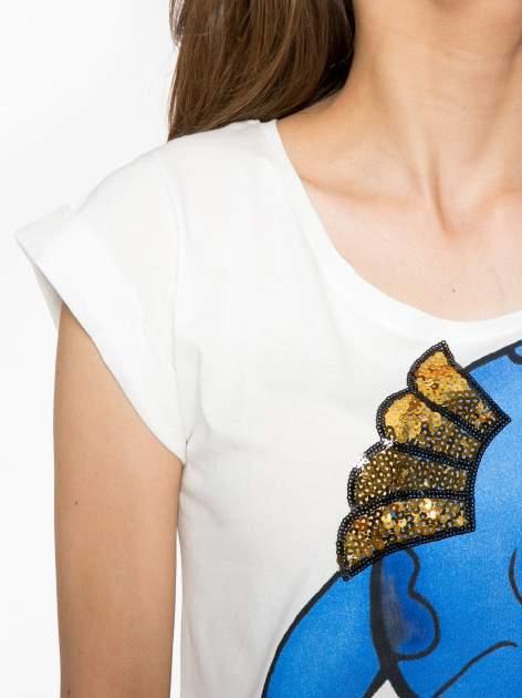 Ecru t-shirt z nadrukiem Stich                                  zdj.                                  5
