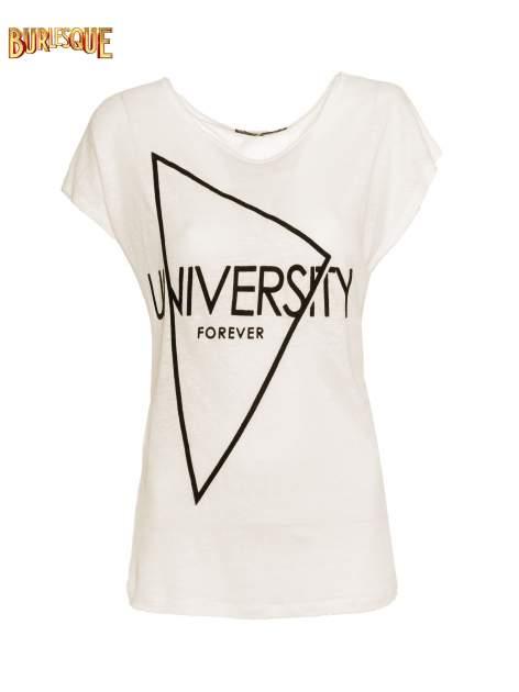 Ecru t-shirt z nadrukiem UNIVERSITY FORVER