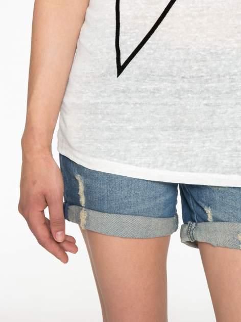 Ecru t-shirt z nadrukiem UNIVERSITY FORVER                                  zdj.                                  6