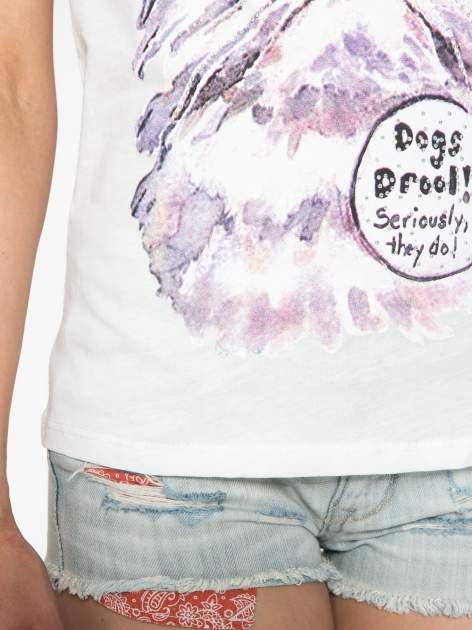 Ecru t-shirt z nadrukiem kota i napisem CATS RULE                                  zdj.                                  7