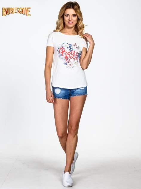 Ecru t-shirt z nadrukiem kwiatowym PRETTY GIRL                                  zdj.                                  6