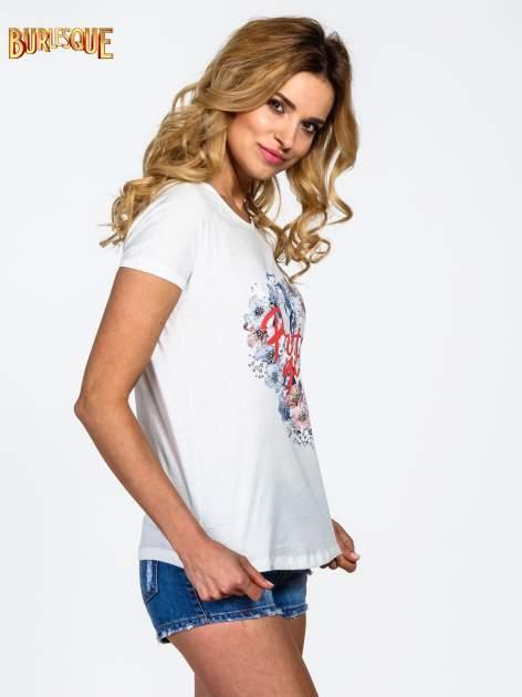 Ecru t-shirt z nadrukiem kwiatowym PRETTY GIRL                                  zdj.                                  3