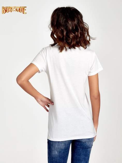 Ecru t-shirt z nadrukiem kwiatowym i napisem NEW YORK                                  zdj.                                  4
