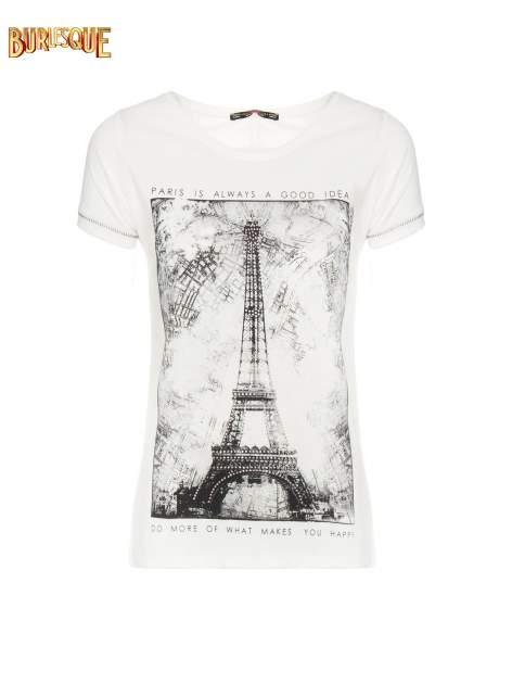 Ecru t-shirt z nadrukiem wieży Eiffla