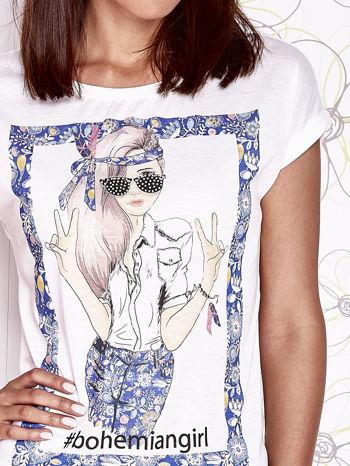Ecru t-shirt z napisem BOHEMIAN GIRL                                  zdj.                                  5