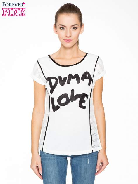 Ecru t-shirt z napisem DUMA LOVE