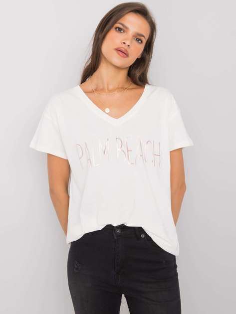 Ecru t-shirt z napisem Denma