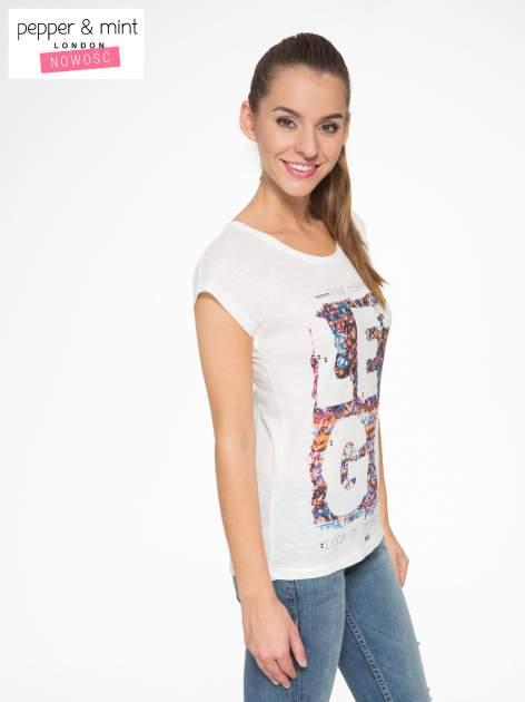 Ecru t-shirt z napisem LET GO                                  zdj.                                  3