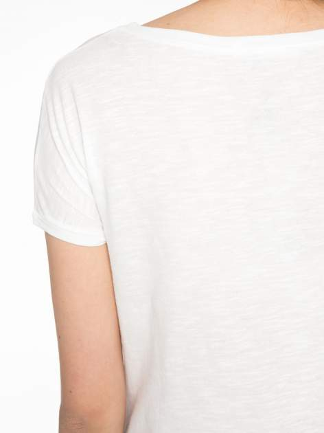 Ecru t-shirt z napisem LOVE AND HAPPINESS                                  zdj.                                  9