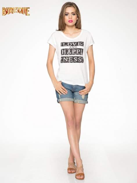 Ecru t-shirt z napisem LOVE AND HAPPINESS                                  zdj.                                  2
