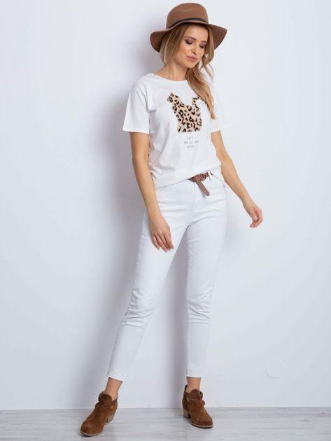 Ecru t-shirt z pluszowym kotem                              zdj.                              5
