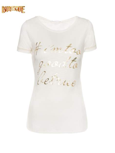 Ecru t-shirt ze złotym hasztagiem                                  zdj.                                  1