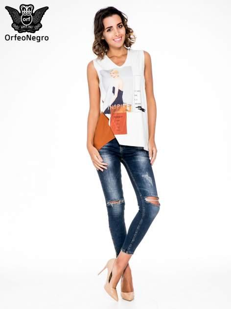 Ecru top w stylu fashion z asymetryczna wstawką                                  zdj.                                  2