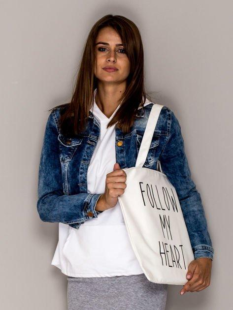 Ecru torba materiałowa FOLLOW MY HEART                                  zdj.                                  2