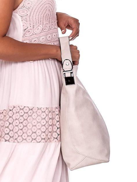 Ecru torba miejska z przeszyciem i drobną fakturą                              zdj.                              3