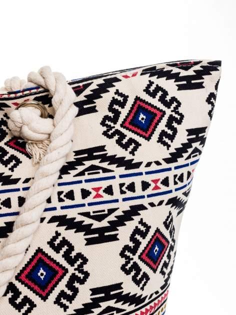 Ecru torba plażowa w azteckie wzory                                  zdj.                                  8