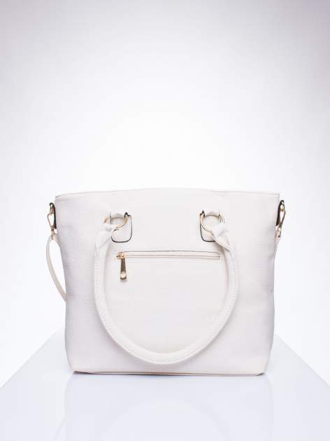 Ecru torba shopper bag z suwakiem                                  zdj.                                  3